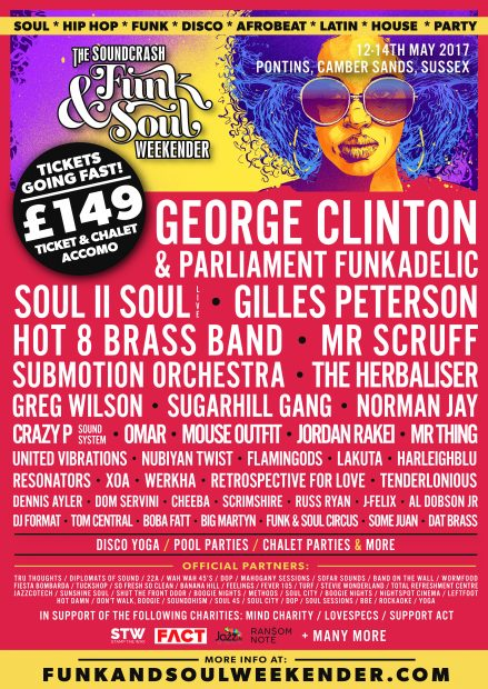 Preview: The Soundcrash Funk & Soul Weekender @ Cambers Sands Holiday Park (Sussex, 12th to 15th May 2017)