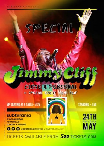Preview: Jimmy Cliff  – Close & Personal @ Subterania (London; Friday 24th May 2019)