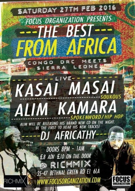 Preview: The Best from Africa ft. Kasai Masai & Alim Kamara @ Rich Mix (London, 27th February 2016)